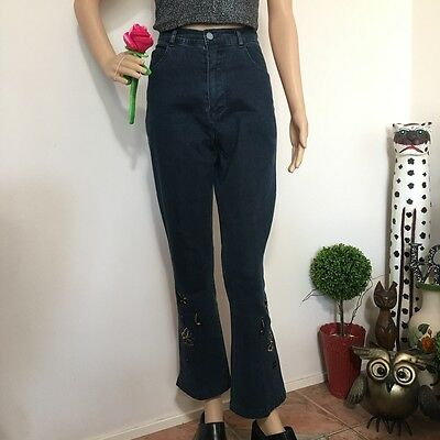 Y2K 90s High-waisted Butterfly Embroidered Flare Jeans Club Rave Cute M Medium