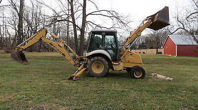 1997 New Holland 555E 4X4 Tractor Loader Backhoe Cab W/ Heat 83Hp Diesel