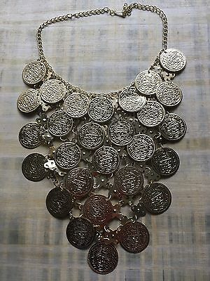 Egyptian Belly dance metalic Coins Necklace choker tribal jewelry