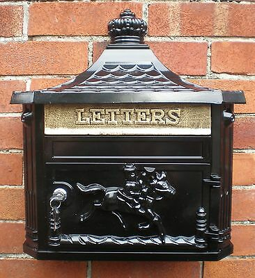 New Antique Victorian Black Aluminium Wall Mounted Locking Letter Post Mail Box