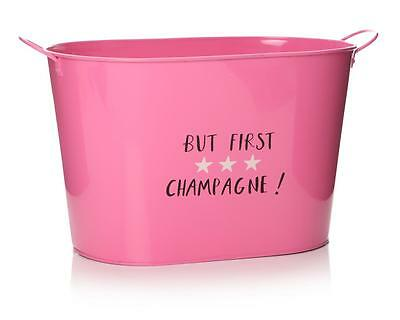 Vintage Pink Large Metal Beer Tub Champagne Bottle Holder Ice Cooler Bucket C