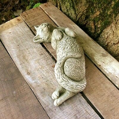 New Sleeping Lazy Cat Outdoor Garden Statues Ornament Large Sculpture Stone 2Kg