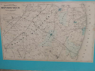 Antique Framed Topographical Map Of Monmouth County New Jersey 21 X 28 1/4 1800S