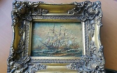 Antique 19th Century Oil Painting Ships signed JW  High Relief Picture Frame