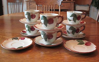 Franciscan China Apple Pattern Set Of 6 Cups And Saucer Sets 2 Extra Saucers