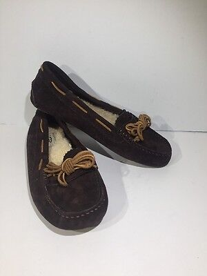 UGG Australia Women's Size 7 Meena Brown Suede Moccasin Slippers Shoes Z7-416