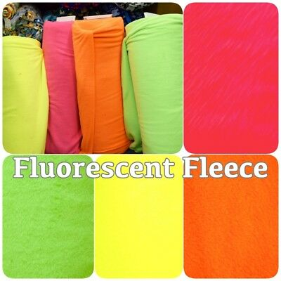 Luminous Colour Neon Bright Coloured Soft Polar Fleece Craft Fabric Material
