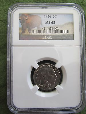 1936 Buffalo Nickel NGC MS65 Philadelphia Mint Uncirculated 5 Cent Bison Coin