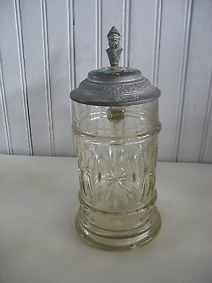 1900 German Glass Beer Stein with Hand-Painted Enamel Top ROSES FLORALS .5 L