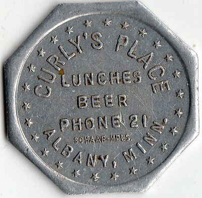 Albany Minnesota Curly's Place Merchant Good For Trade Token