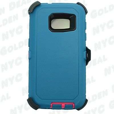 For Samsung Galaxy S7 Defender Case (Belt Clip Fits Otterbox) Cyan pink
