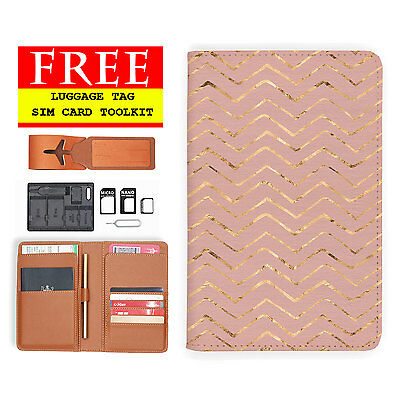Rfid Blocking Anti Scan Travel Passport Wallet Holder Pouch Cover Rose Wave