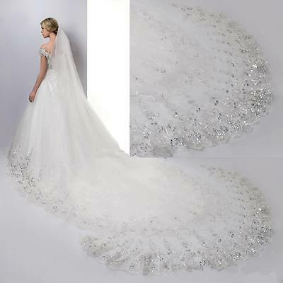 1 Tier Bridal Veil Sequined Lace Edge Cathedral Length Comb on 160 Inches Long