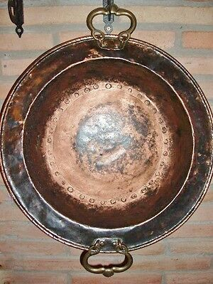 Antique Stove Brazier Copper And Handles Bornze Vintage