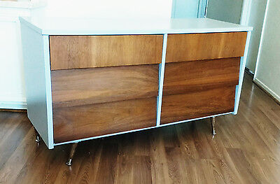 Gray Two Tone Mid Century Low Double Dresser, Credenza by Ward