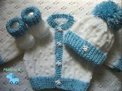 Hand knitted Baby Boys Cardigan hat & booties