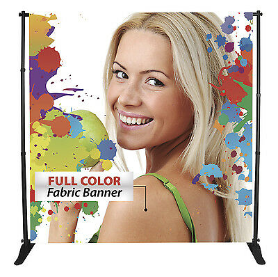 10x8 CUSTOM Full Color FABRIC Step Repeat Backdrop Banner Printing NO STAND