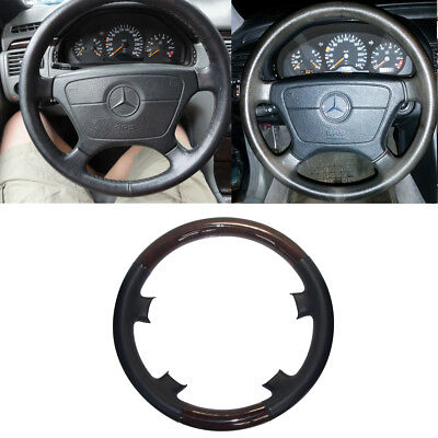 Black Leather Wood Steering Wheel Cover for 95-99 Mercedes Benz W210 E W202 C