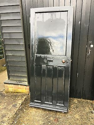 Reclaimed Period Victorian/Edwardian Front Door  Pine with period clockwork bell