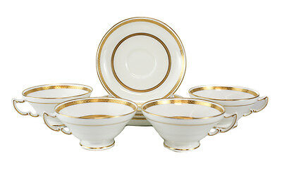 4 Minton Retailed by Tiffany & Co. Porcelain Cup & Saucers, circa 1900