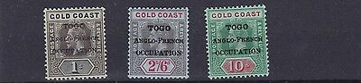 Togo  1916 - 20  S G H53 + H55 + H57A  Values To 10/-  Mh