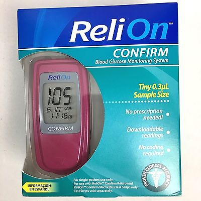 ReliOn Confirm Blood Glucose Monitoring System Monitor Pink with Carrying Case