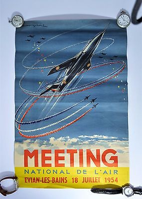 Evian Rare affiche meeting national de l'air 1954