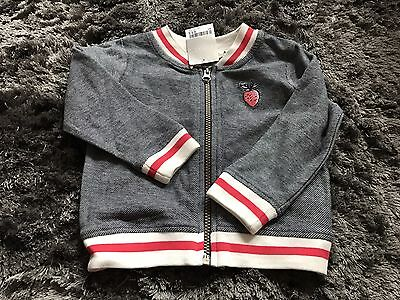 Next Girls Girl Summer Bomber Jacket Top Coat  Grey Red 1-1.5 Years 12-18 Months