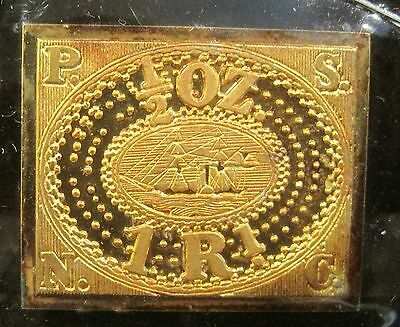 Peru 1857 1/2 oz. 1 Real - 24kt. Gold Plated on Sterling Silver .35oz.! K238