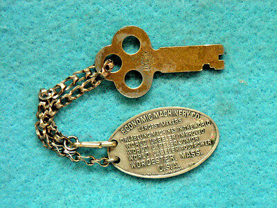 Rare Vintage Economic Machinery World Labeler Key Chain Fob Worcester, Mass.