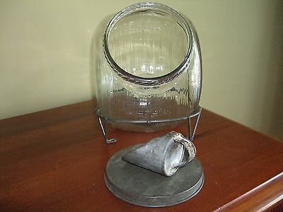Antique Glass Jar w/ Wire Rack /  Holder for Seller's Cupboard Cabinet Kitchen