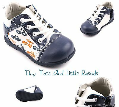 Boys Spring Autumn Hi Top Ankle Shoes Zip Up Leather Insole Size UK 3 - 7