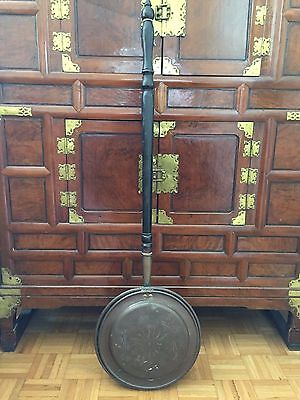 Antique  Large Warming Pan With Turned Wood Handle 44""