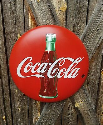 1950's Coca Cola Button Sign. 24in. Porcelain