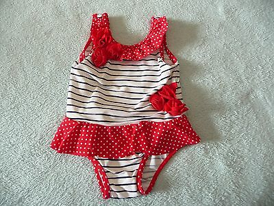 ** Pretty Striped Swimming Costume / Swim Suit - Mothercare (9 - 12 months) **