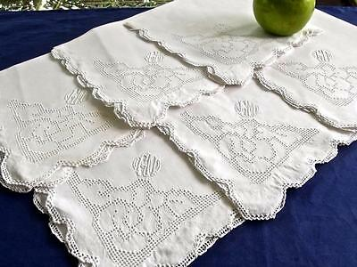 "6 Antique White Linen Italian Mosaic Lace 16"" Napkins Embroidered Monogram GM/CM"