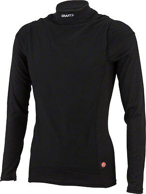 Craft Active Wind Stopper Long Sleeve Crew Base Layer Top: Black LG