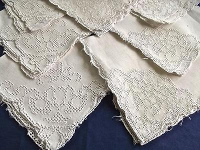 "Lot 7 Antique White Linen Italian Mosaic Lace 12"" Tea Cocktail Napkins"
