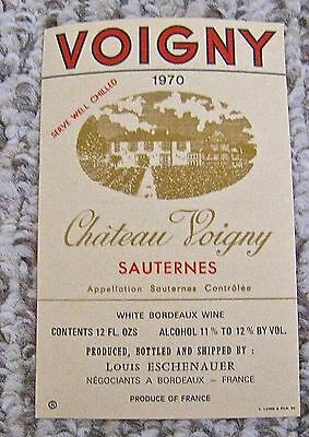 Vintage Wine Label 1970 Chateau Voigny Sauternes White Bordeaux Wine