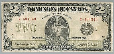 1923 Dominion Of Canada 2 Dollars Black Seal Banknote
