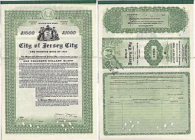1924 New Jersey Jersey City Tax Revenue Bonds (4) Number 2515-2518 Cancelled