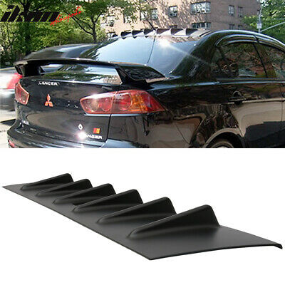 Fit 08-16 Mitsubishi Lancer Roof Spoiler Wing Unpainted Black - ABS