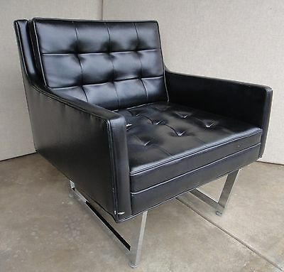 Leather Lounge Chair Mid Century Modern by Patrician Extra Wide Seat-comfortable