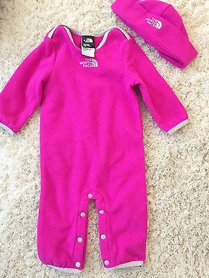 The North Face Baby Girl One Piece Set With Winter Hat 3-6 Months