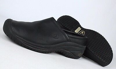KEEN Utility Women's PTC Slip-On Black Leather Clogs Work Shoes Size 9 U352-22