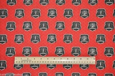FIREFIGHTERS POLICE MAN BADGES PEWTER SEAL RED COTTON FABRIC FQ