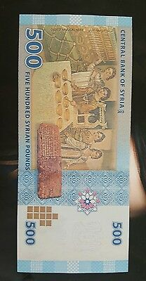Syria Middle East 500 Pounds (2013) p115 UNC and protective sleeve.