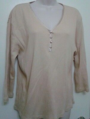 DRESSBARN Embellished Top Shirt Long Sleeve V-Neck Casual Strecthed XL