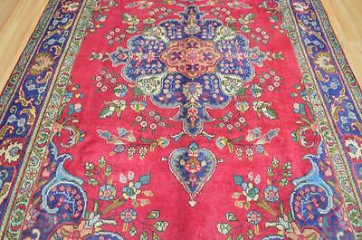 6'4x10'2 Genuine Semi Antique Persian Tabriz Hand Knotted Oriental Wool Area Rug