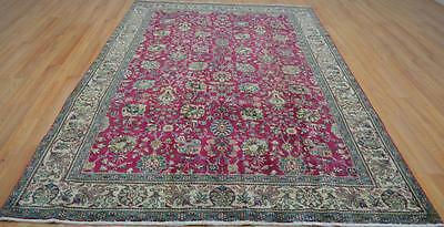 6'5x9'8 Gorgeous Genuine Semi Antique Persian Tabriz Hand Knotted Wool Area Rug